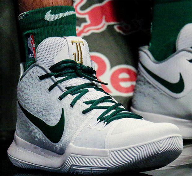 #sneakers #news Jayson Tatum Gets Kyrie-Inspired Nike Logo On Kyrie 3 PE