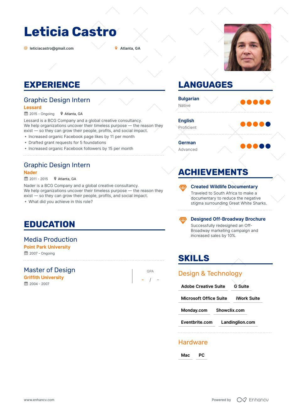 Top Graphic Design Intern Resume Examples & Samples for