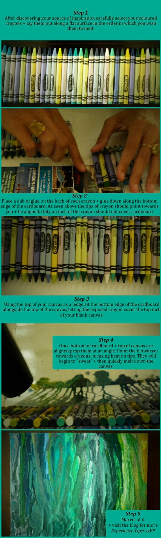 How to make melted crayon gluing the crayon to the canvas. pretty and random…
