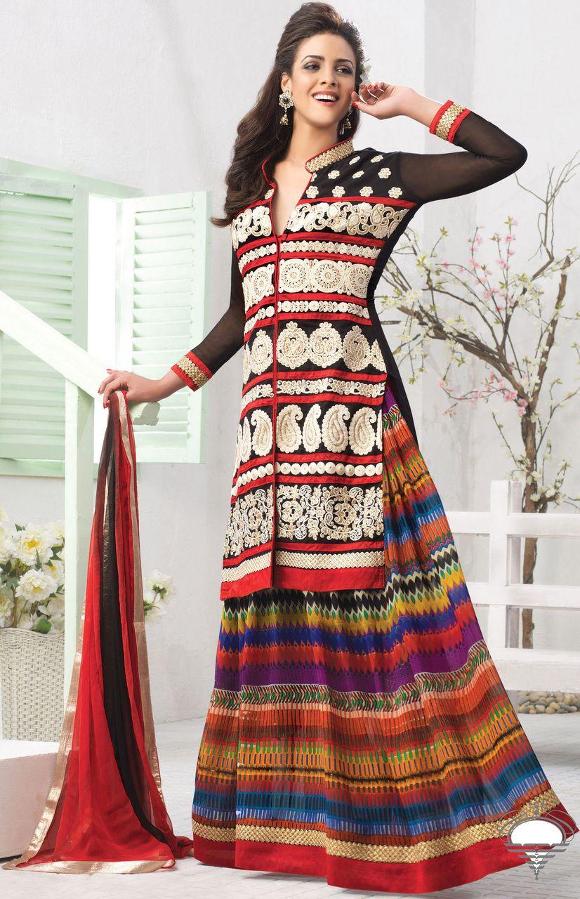 Black,Orange & Red Color Georgette based Semi Stitch Dress Material - JustKartIt