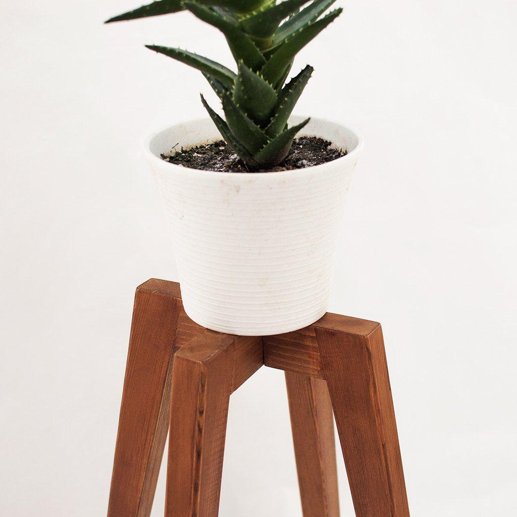 Rustic plant stand wood legs planter base mid century oak plant simple modern plant