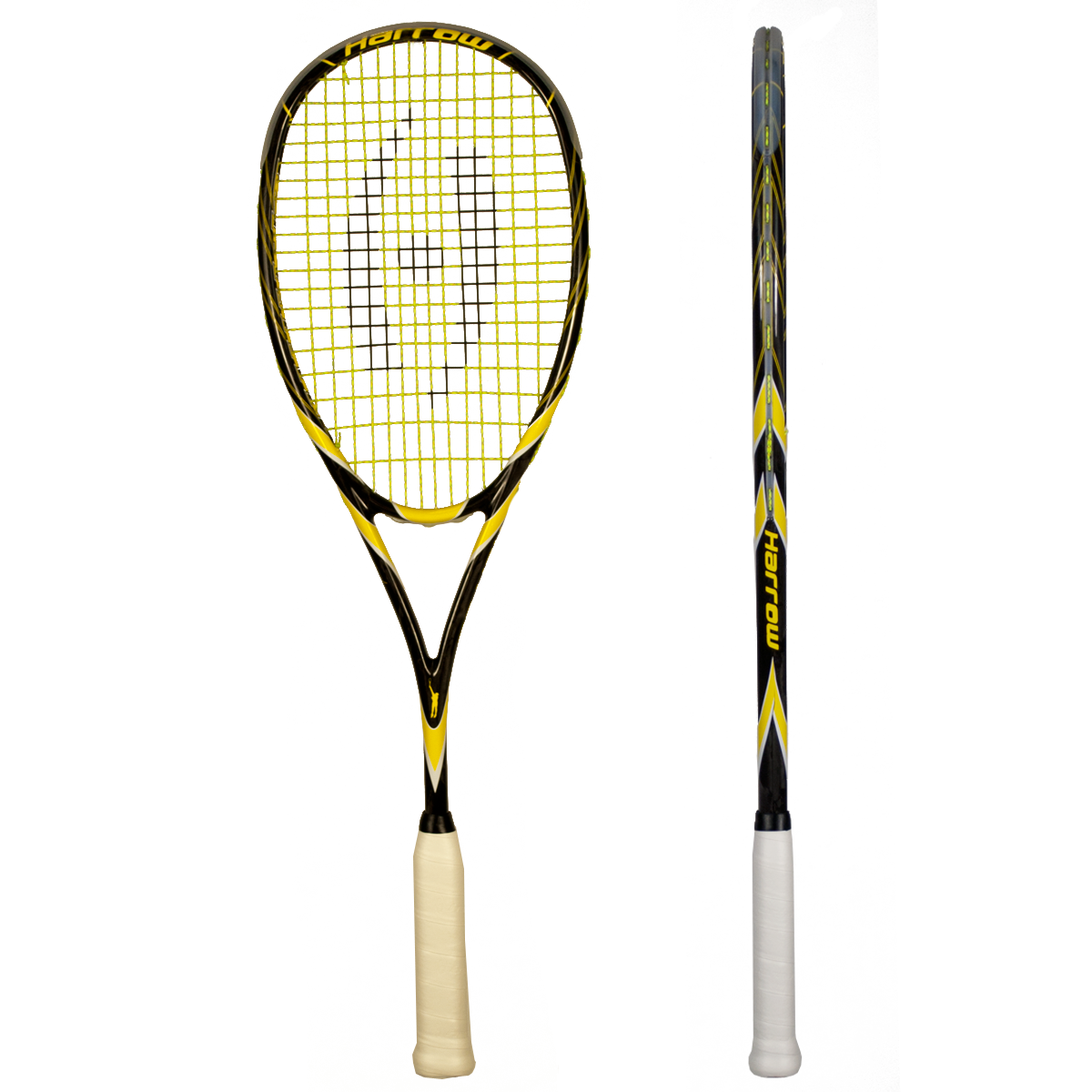 Squash Racquet - Harrow - The Spark, $219 -  One of the lightest high performance racquets in the game at 135 grams finished weight. The power and touch generated by this frame is second to none. Strung with Barrage Pro at 28lbs- Weight 135 g- Balance 375 mm Even- Construction: Carbon Graphite