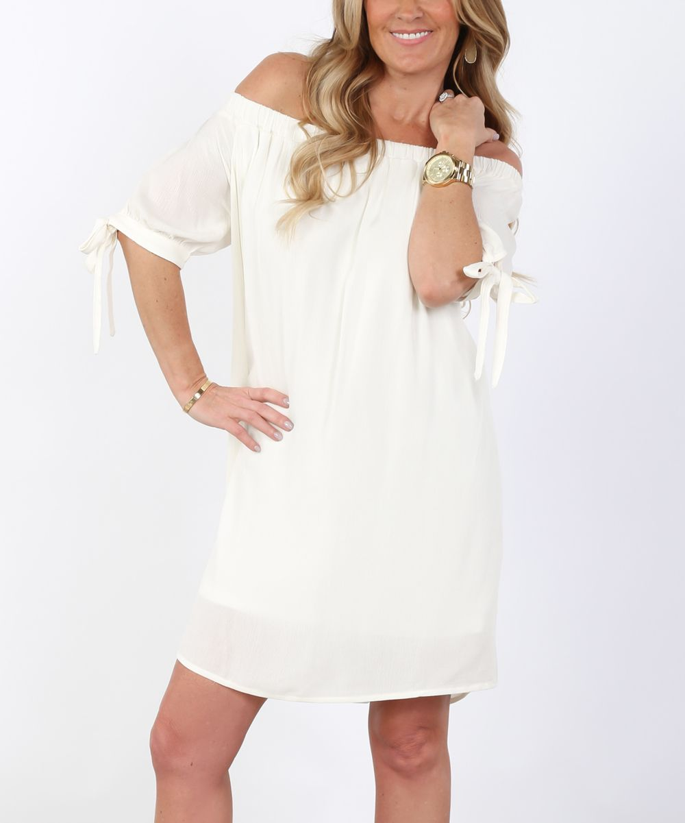 Ivory tiesleeve offshoulder shift dress products