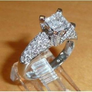 Noble Fill White Crystal Silver Plate Rings for Lovers
