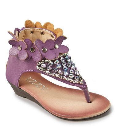 Loving this Purple Bouquet Zipper Sandal on #zulily! #zulilyfinds