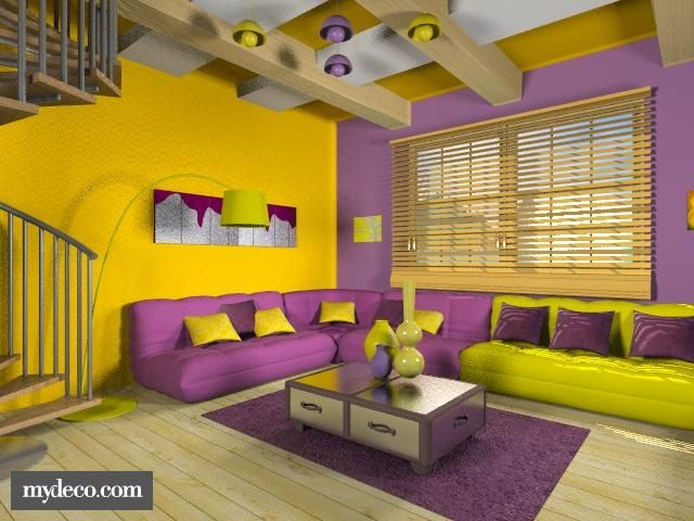 this yellow and purple room is very cool. the colors are evened