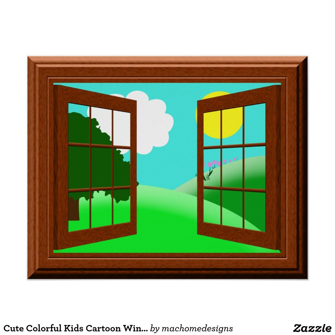 Colorful Rooms With A View: Cute Colorful Kids Cartoon Window View Poster
