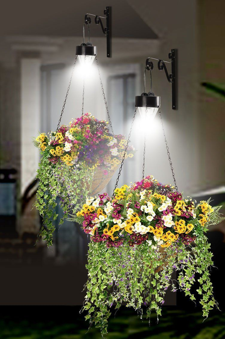 Set Of 2 Hanging Basket With Solar Powered Led Lights 2509 Light Up Your Baskets After Dark A Solar Lights Garden Outdoor Solar Lights Hanging Solar Lights