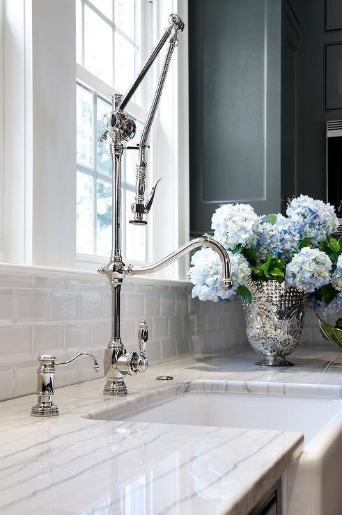 Luce Di Luna Quartzite Countertops With Deck Mount Swing Arm Faucet Transitional Kitchen Quartzite Countertops Farmhouse Faucet Fabulous Kitchens