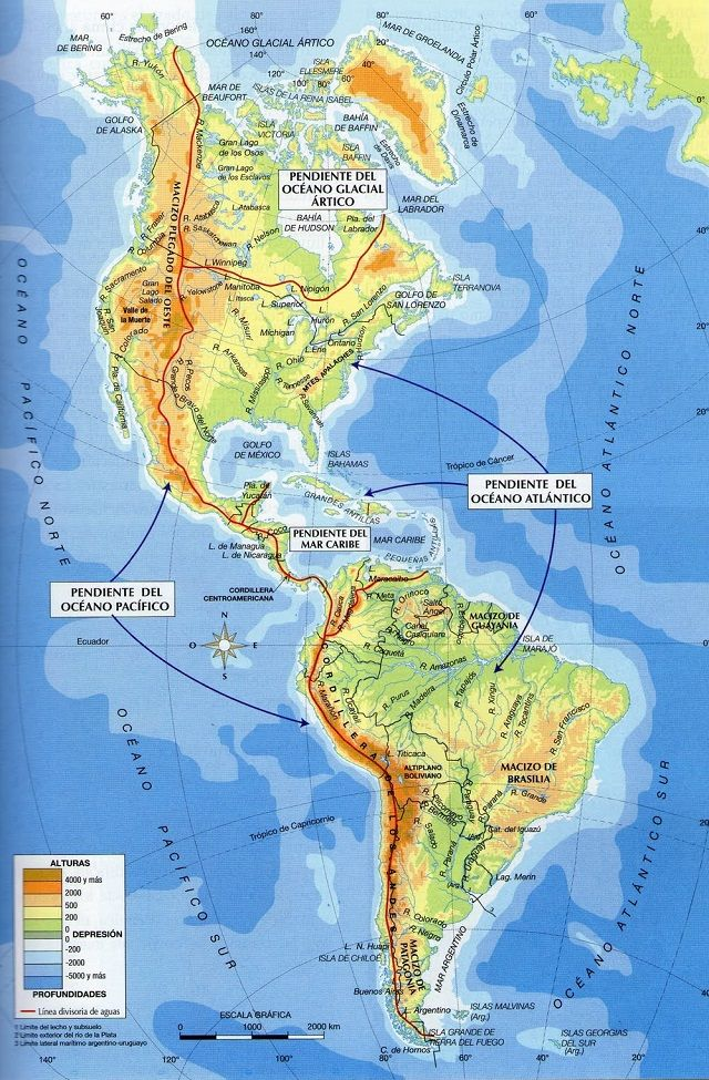 Mapa Fisico De America.Mapa Fisico De America Mapa Fisico Hidrografia De America