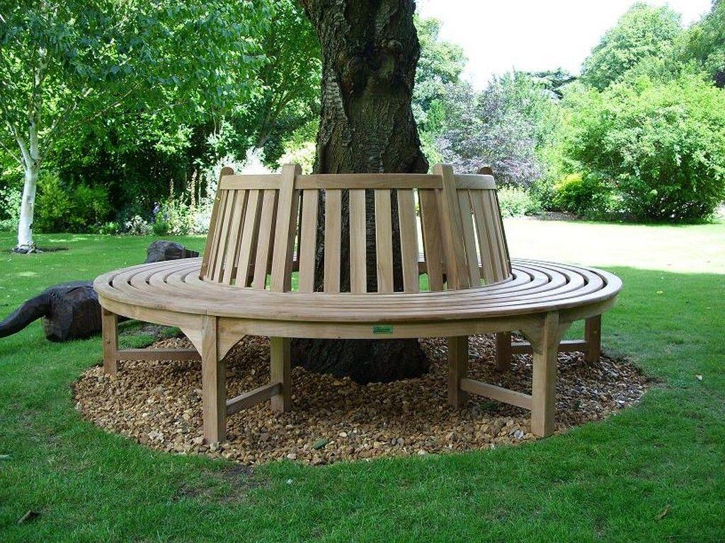 Nice Wood Surround Tree Bench Outdoors Garden