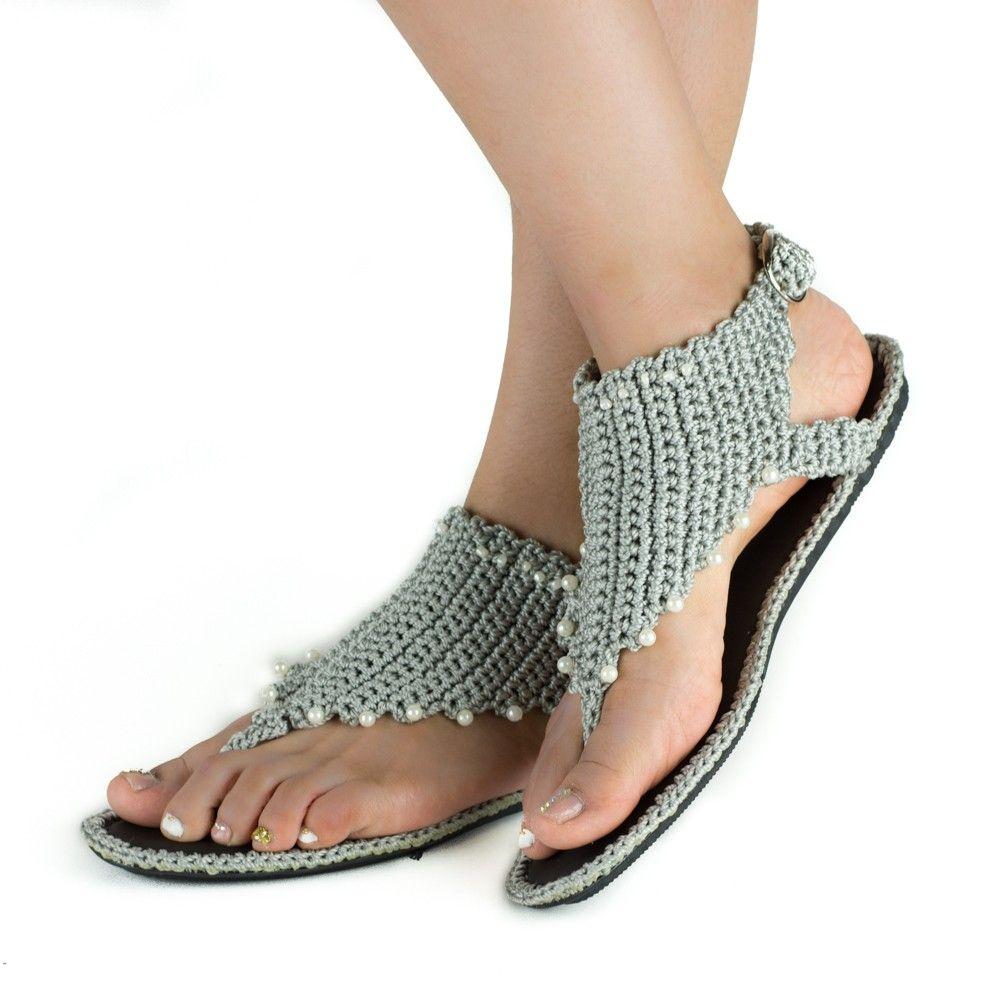 sandalias tejidas en crochet - Buscar con Google | ilas quiero ...