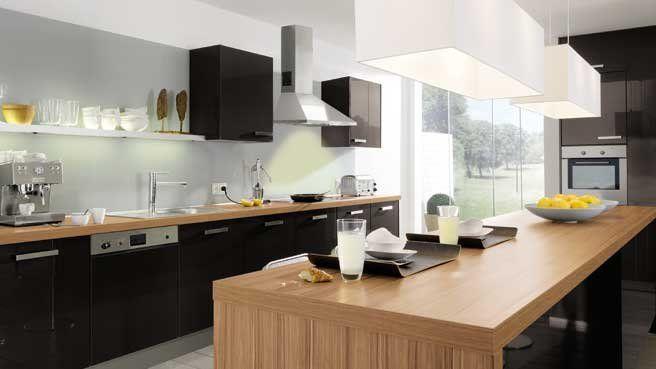 Jolie cuisine noir plan de travail bois plan de travail for Cuisine plan de travail noir