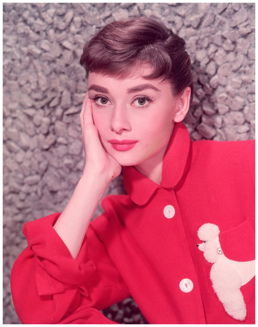 Audrey Hepburn, leaning on her hand in a red jacket with a poodle ...