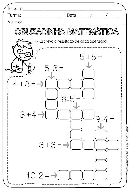atividade pronta cruzadinha matemática atendimento pinterest