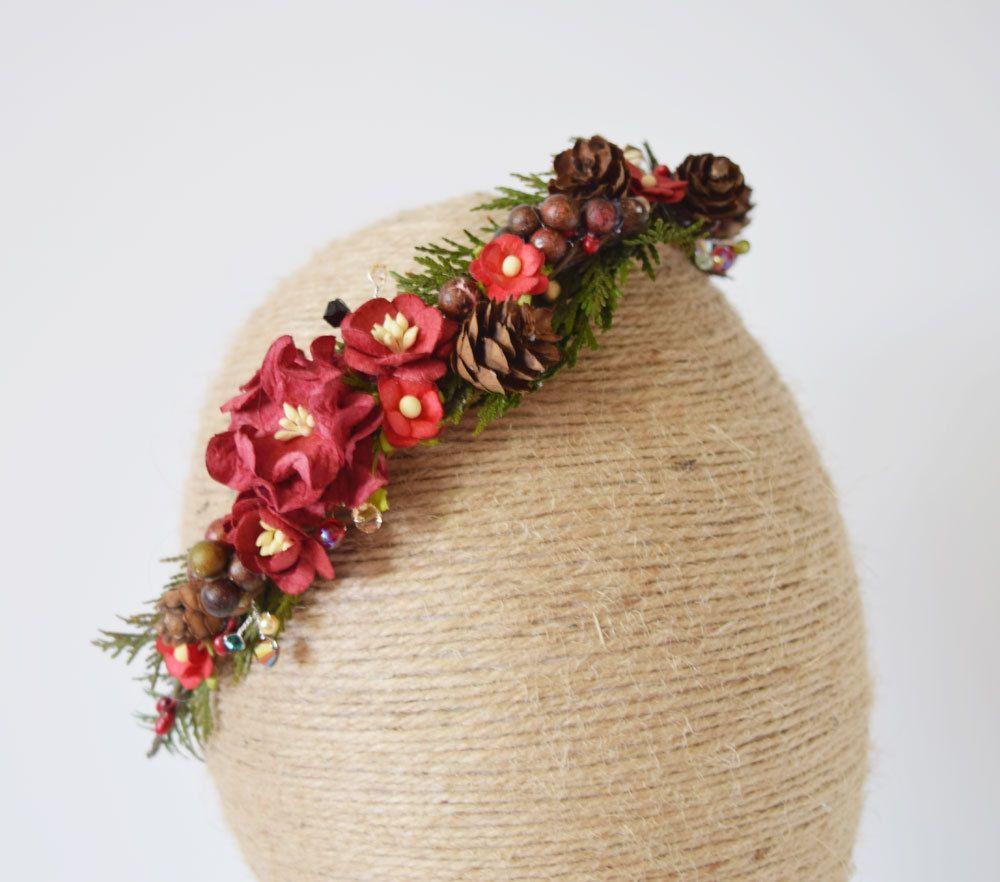 Christmas flower crown flower headband winter wedding bridal christmas flower crown flower headband winter wedding bridal heapiece flower garland izmirmasajfo