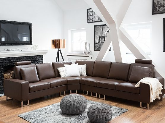 Left or Right Hand Leather Sectional Sofa - STOCKHOLM Brown