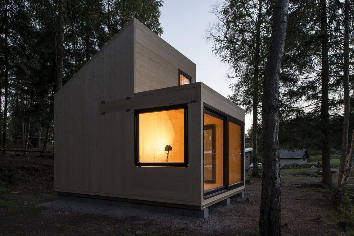 Diseño De Cabaña De Madera Monovolumen
