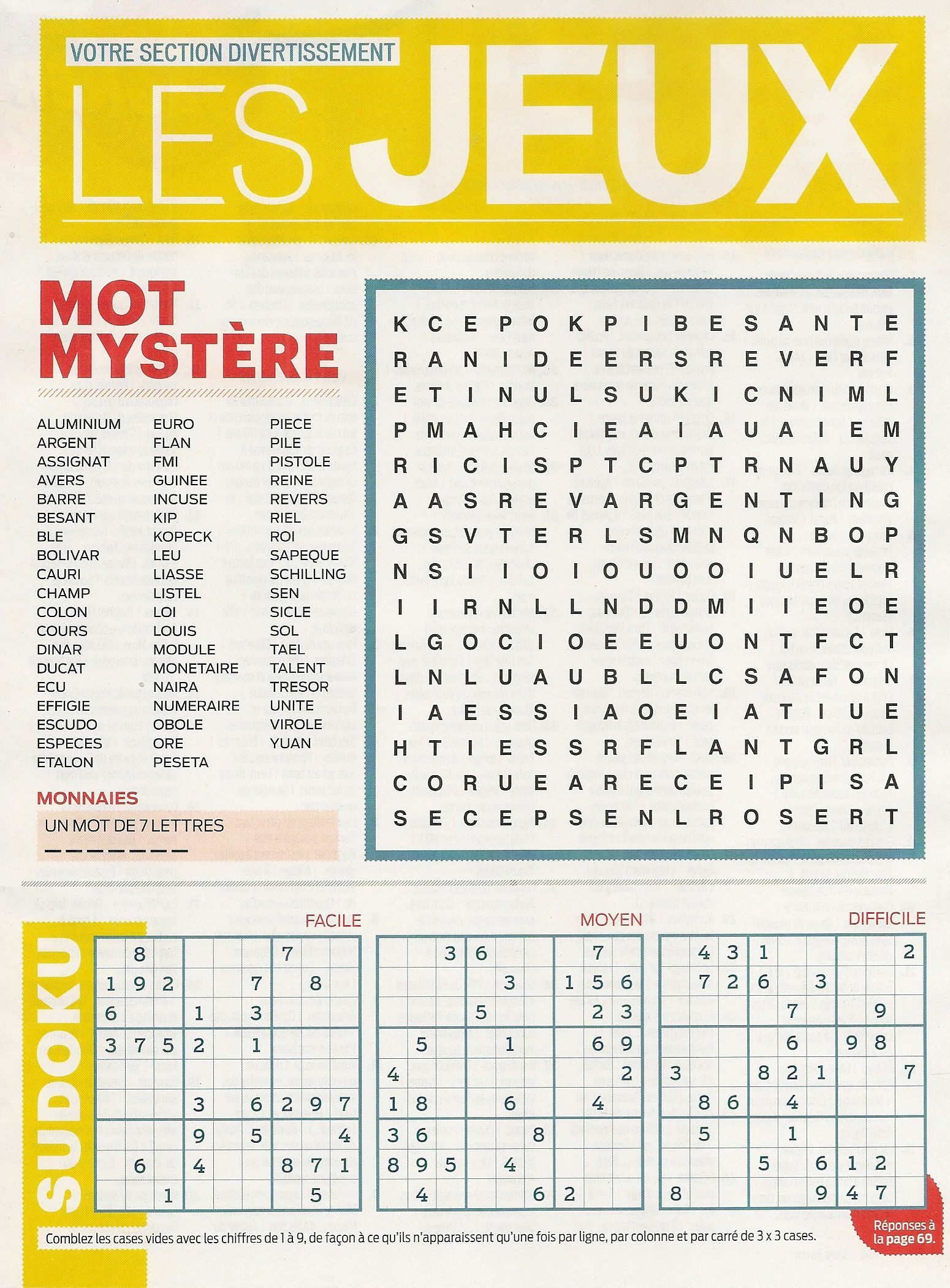 Divertissement Mot Myst¨re et Sudoku Frawsy