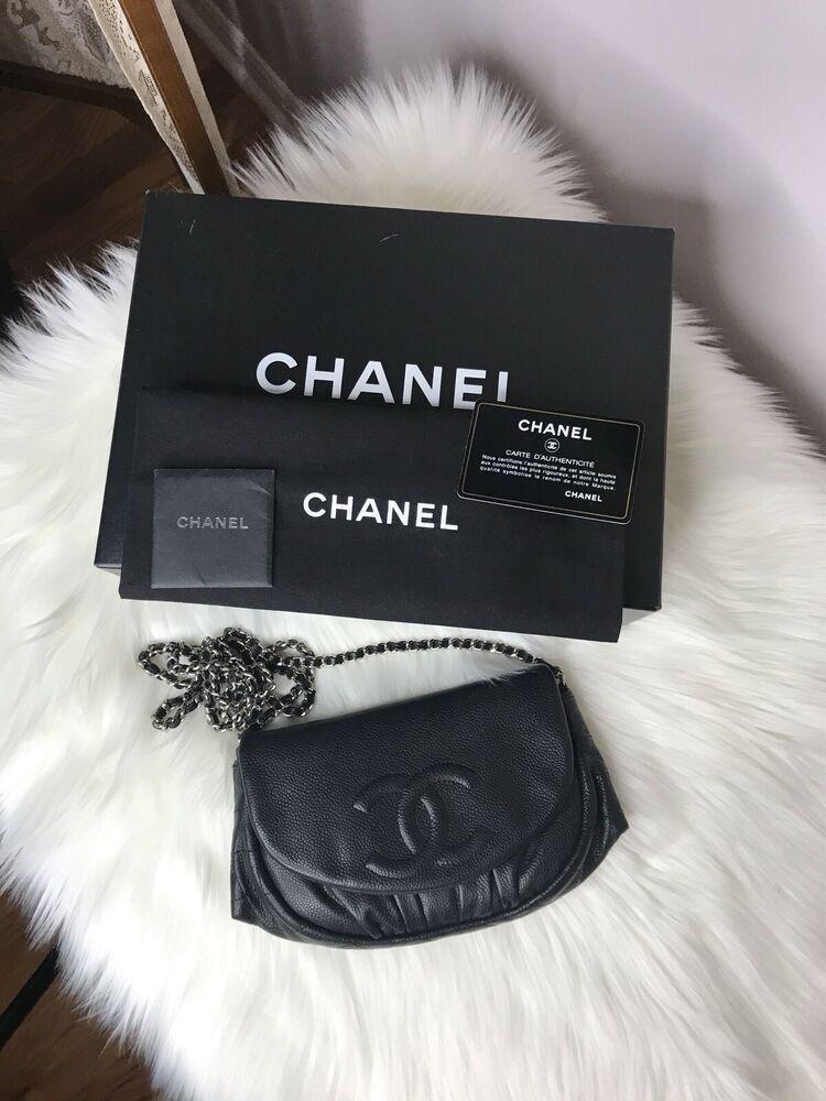 c9a1689d9266 CHANEL Half Moon WOC Black Caviar CC Silver Chain Wallet On Chain Crossbody