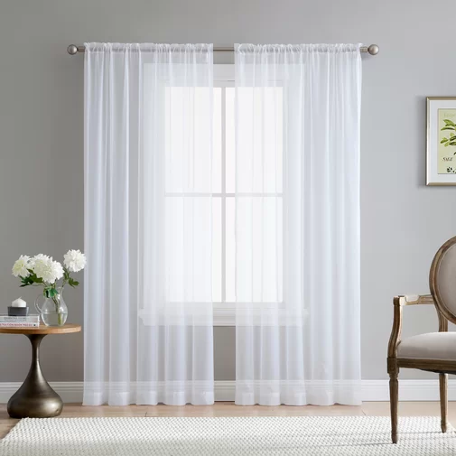 Brushgrove Solid Sheer Rod Pocket Curtains White Sheer Curtains