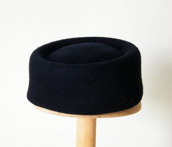 navy pillbox hat  navy winter hat  winter hats for women  ladies dress hat   felt pillbox hat  50s ha b2edda33106