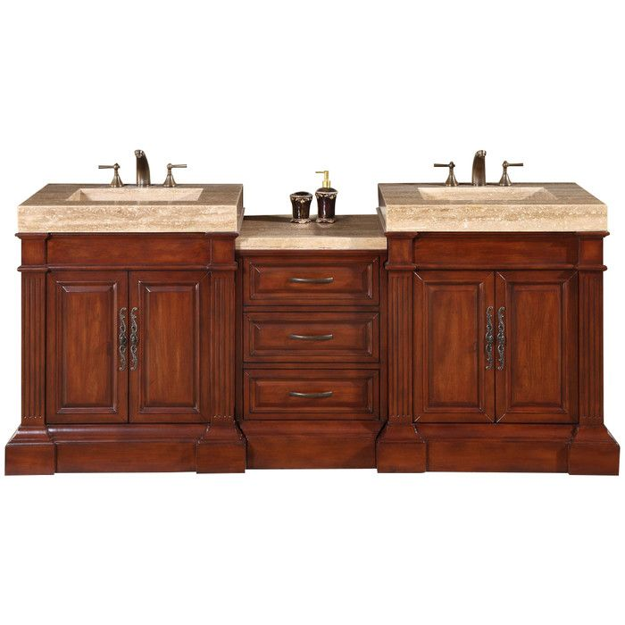 "Silkroad Exclusive York 72"" Double Bathroom Vanity Set & Reviews Delectable Bathroom Cabinet Reviews 2018"