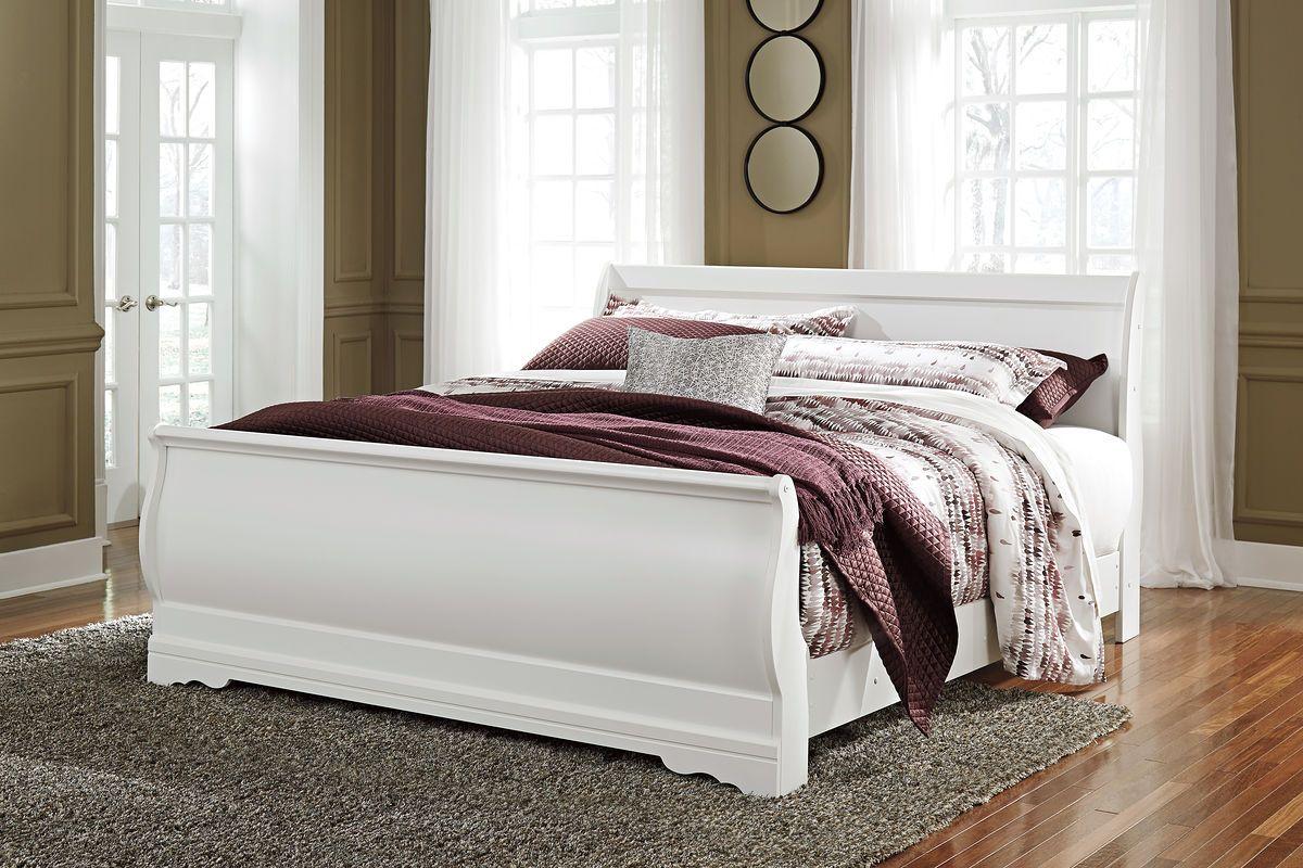 Anarasia White King Sleigh Bed with Danessa Duvet