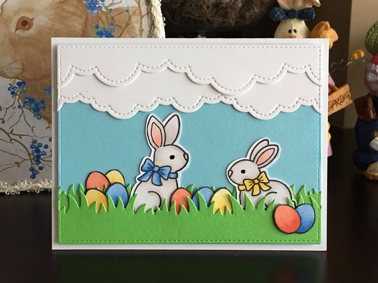 Easter egg hunt easter cards handmade lawn fawn cards