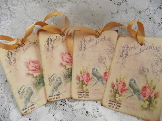 Shabby Chic Colors For 2015 : Shabby chic bird gift tags pastel colors personalized by mslizz