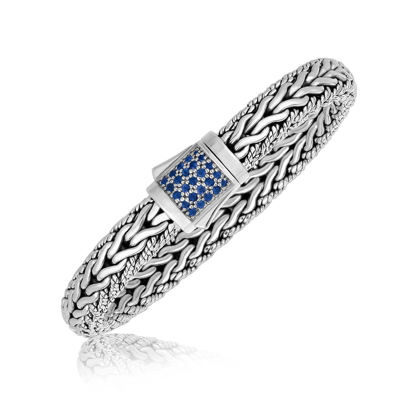 Sterling silver blue sapphire designed braided menus bracelet