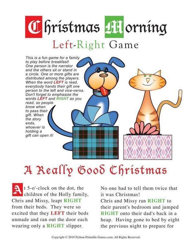 Christmas Christmas Morning Left-Right Game Craft Pinterest