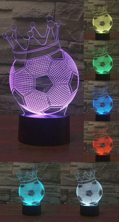 Football Crown Style Illusion Bedroom 7 Color Led Touch Night Light Lamp
