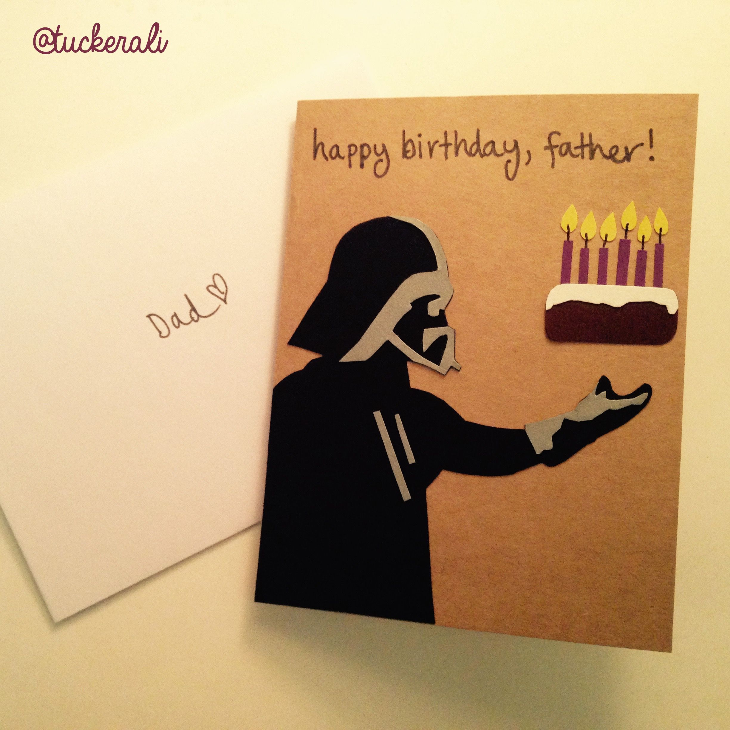 Today in Ali does crafts Darth Vader birthday card for dad Karten DiyKarten BastelnGeschenk ElternPapa GeburtstagStar Wars