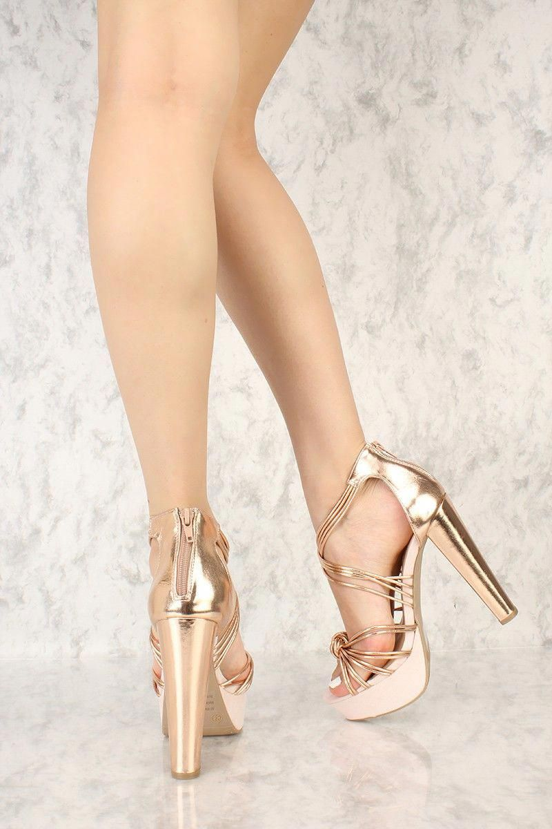 6d1df09e753 Rose Gold Knotted Strappy Detailing Open Toe Platform Chunky High Heels  Faux Leather  Platformpumps