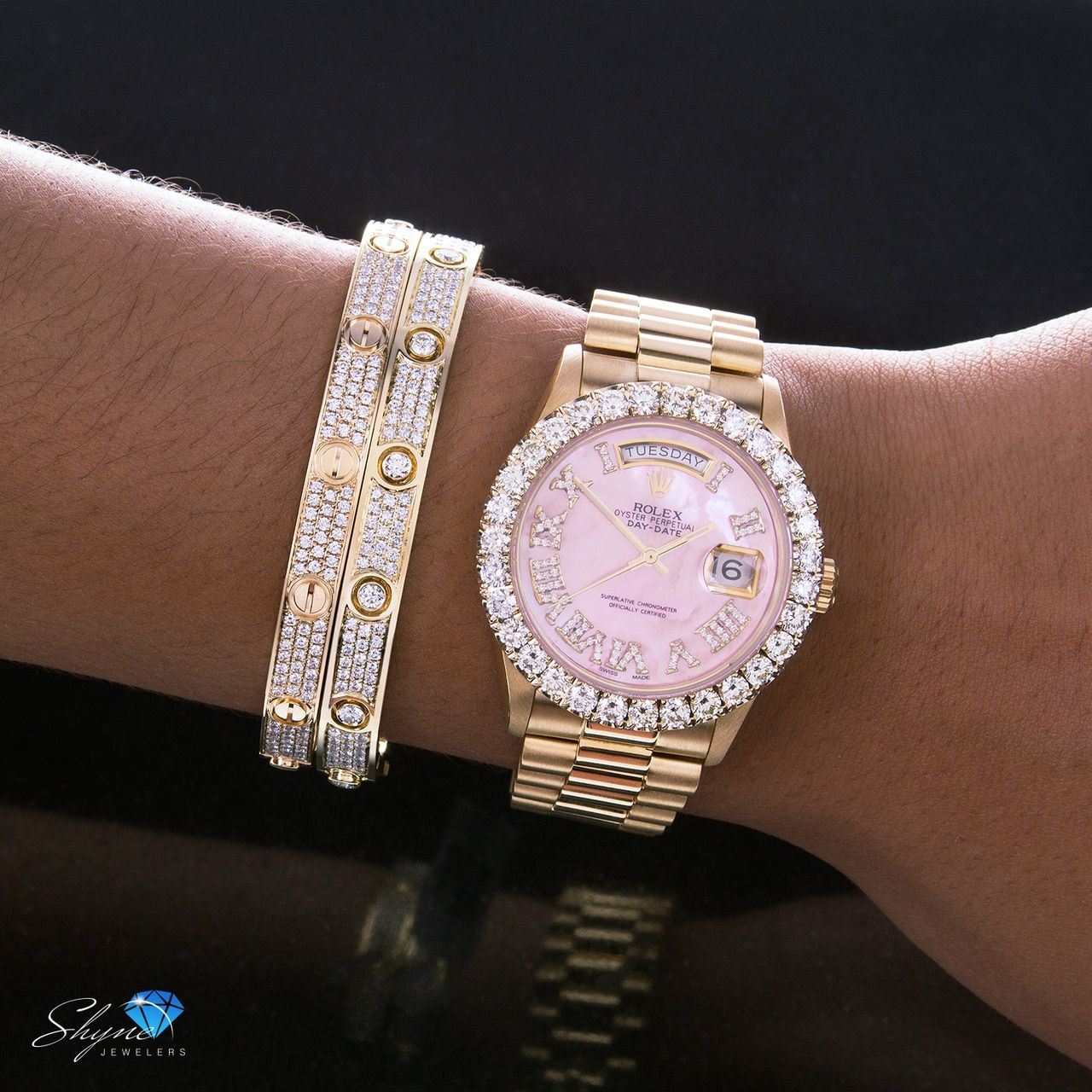 Rolex Day-Date 18K Yellow Gold President Pink Mother of Pearl 5ct Diamond Bezel Automatic Men's Watch #rolexwatches