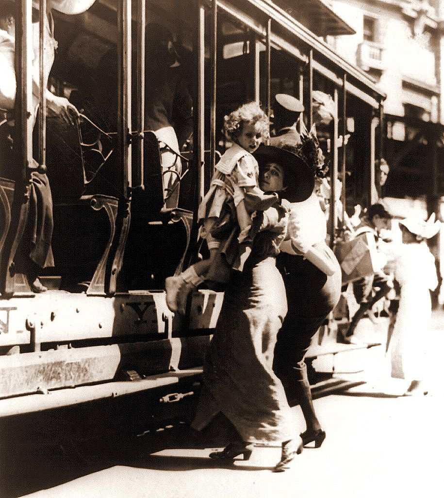 Getting off of the streetcar