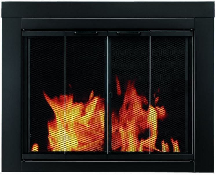 Pleasant Hearth Glass Fireplace Door Ascot Black Small AT-1000 Mesh Screens NIB #PleasantHearth #FireplaceDoor