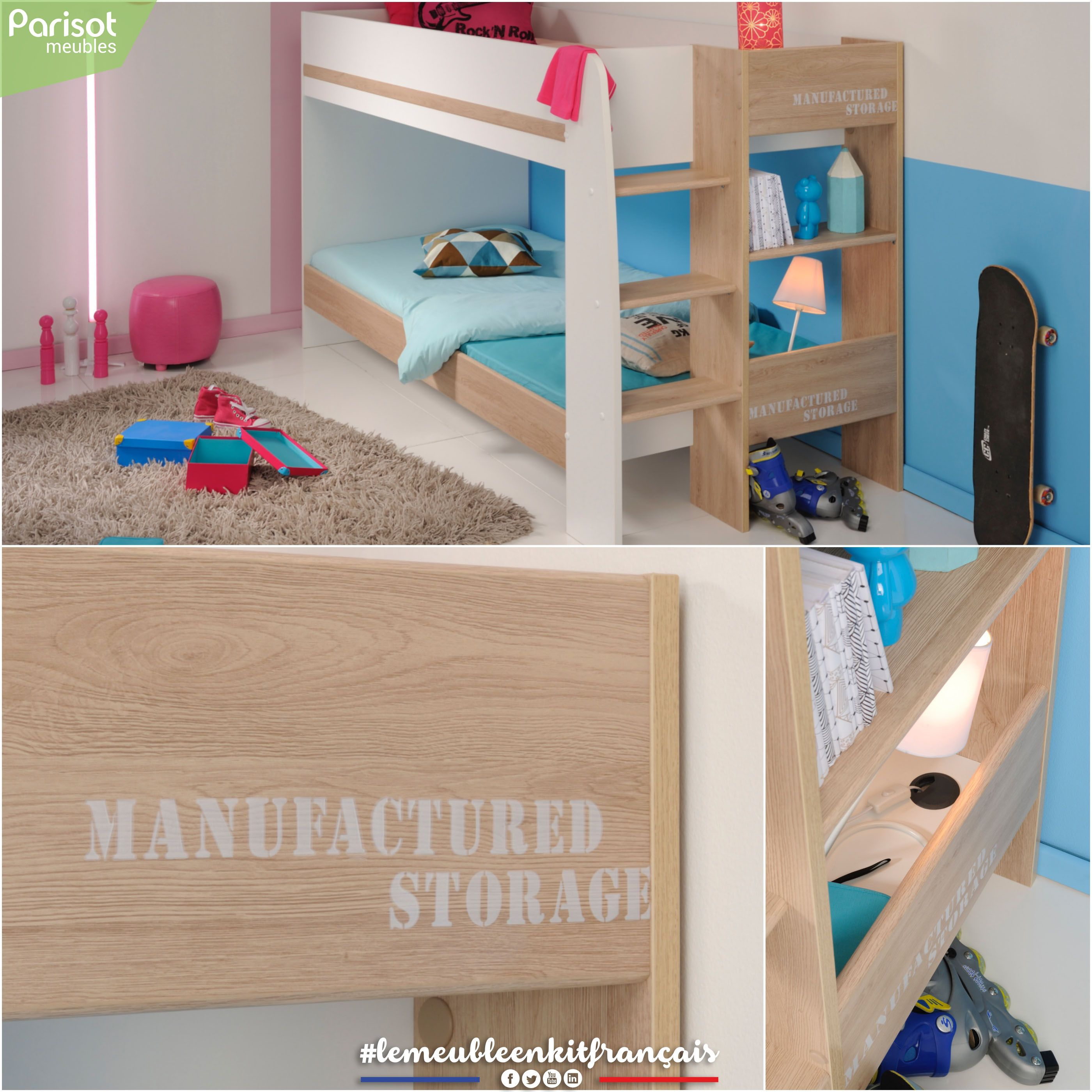 Family By Parisot Meubles A Compact And Functional Bunk Bed Bringing 3 Individual Sleeping Spaces In 4m Lemeubleenkitfrancais Mobilier De Salon Interieur