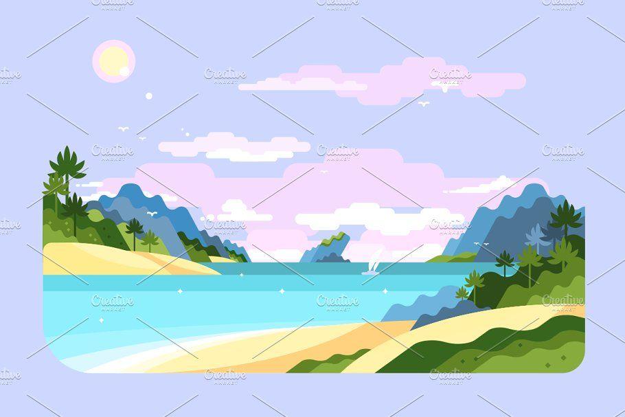 Beach In 2020 Nature Illustration Landscape Illustration Illustration