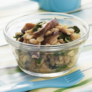 Transitional Recipes for Baby: 12-18 Months | Barley with Shiitakes and Spinach | CookingLight.com