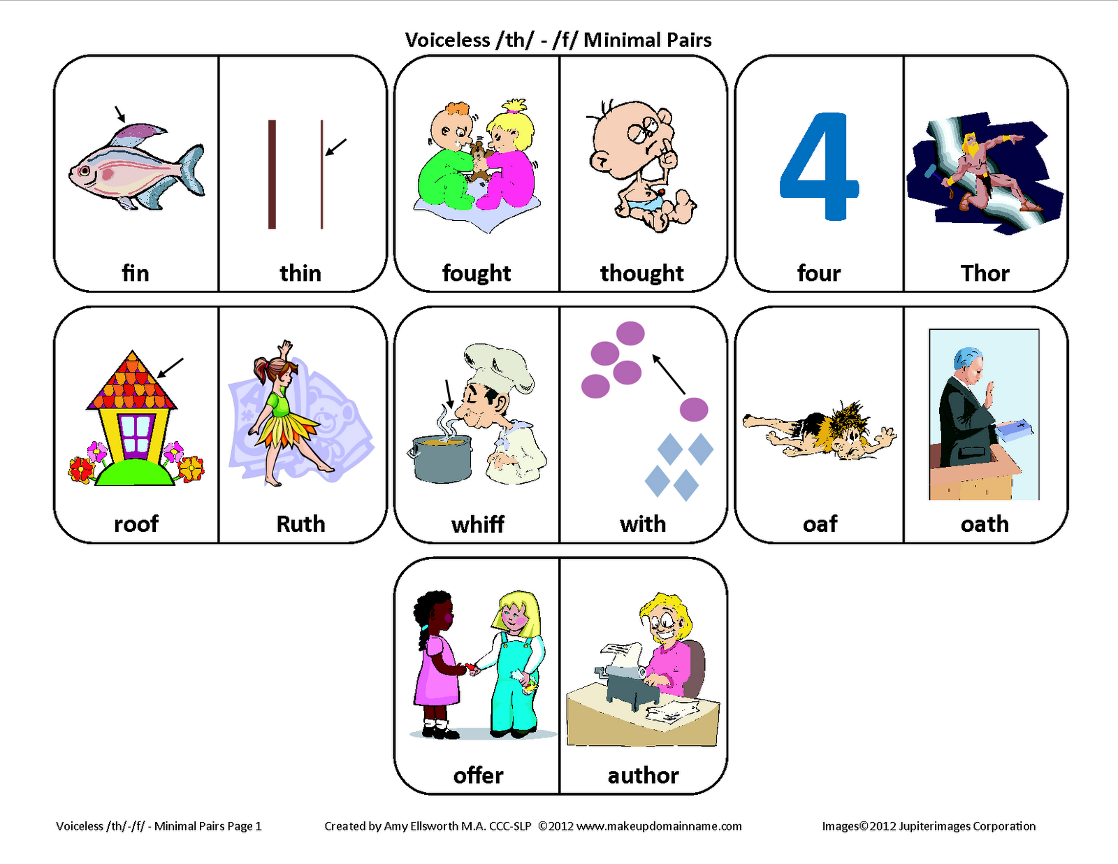 Voiceless Th F Minimal Pairs Picture Cards From Testy