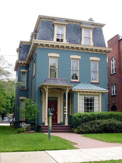 Second Empire Blue Erie Painted Brick House House Exterior Empire House