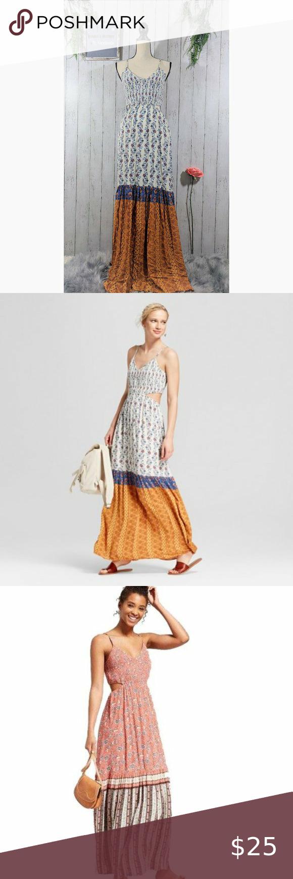 Xhilaration Maxi Dress Floral White Yellow Pink Floral Maxi Dress Boho Chic Spring Maxi Dress [ 1740 x 580 Pixel ]