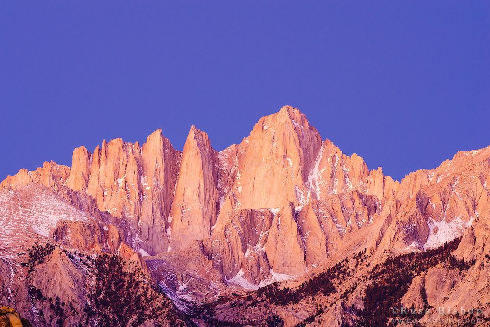 Dawn light on the east face of Mount Whitney, Sequoia National Park, California  / © Russ Bishop ~ Click image to purchase a print or license