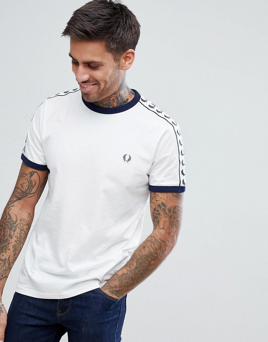 65f412b0d FRED PERRY SPORTS AUTHENTIC TAPED T-SHIRT IN WHITE - WHITE.  fredperry   cloth
