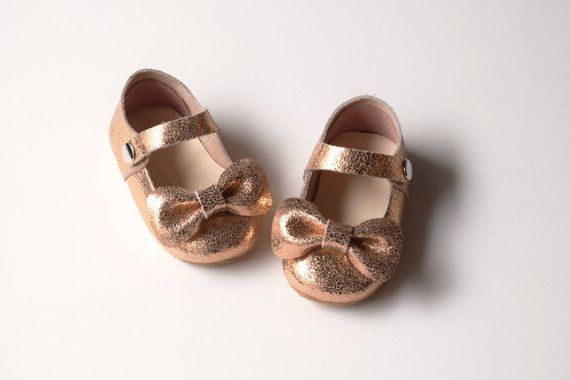 eb42d84f82c84 Rose Gold Baby Girl Shoes With Bow, Leather Baby Moccasins, Toddler ...