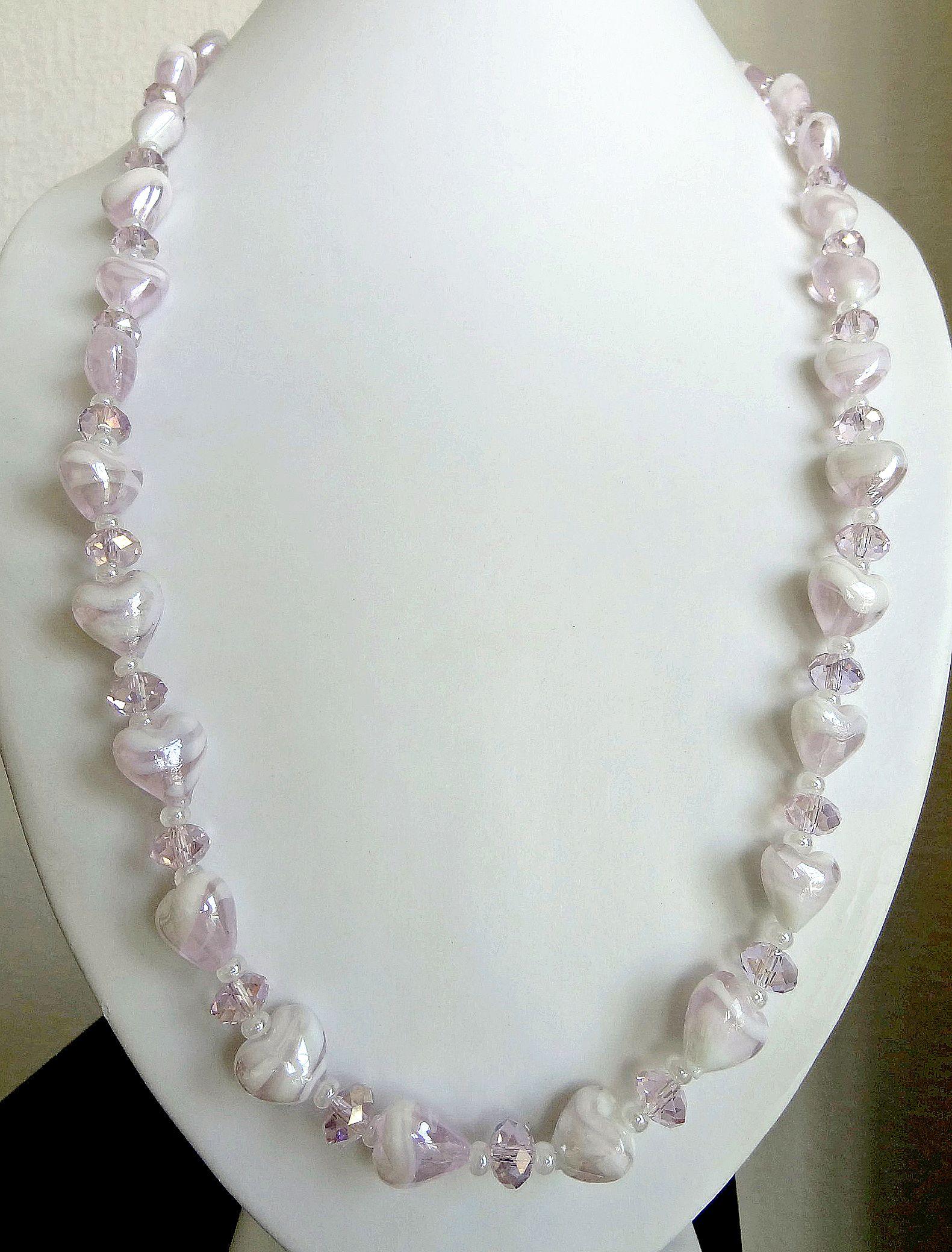 Pink hearts & Czech glass necklace