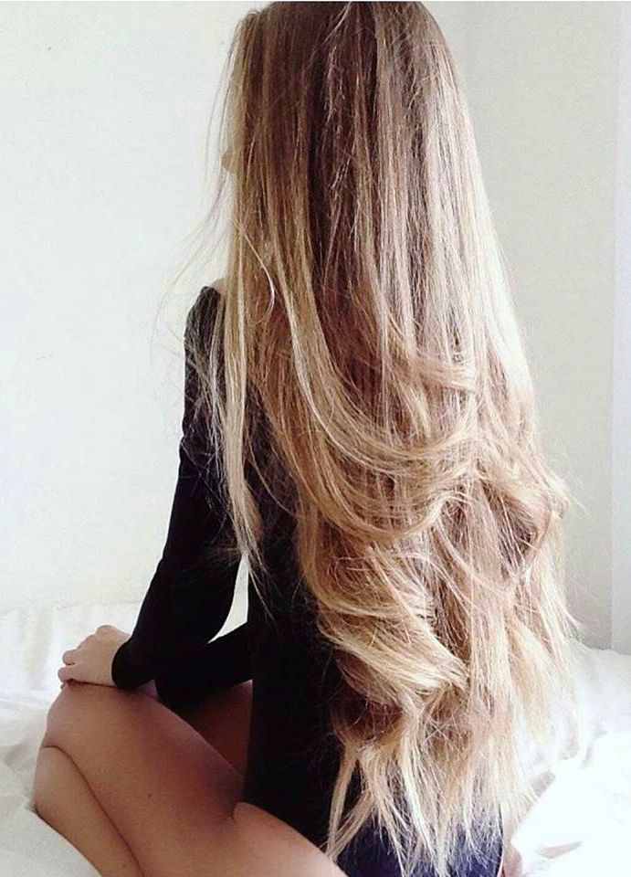 Charming Very Long Blond Hair. Black On Blond In Bed.