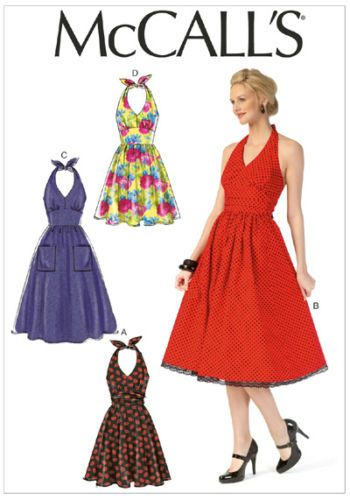 McCalls 7157 Retro Bombshell Halter Neck 50s Style Dress Sewing ...